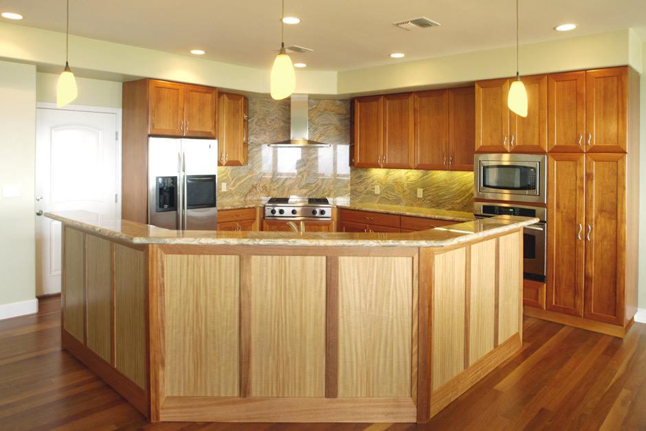 Anigre Wood Kitchen Cabinets